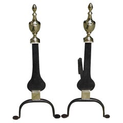Pair of American Brass and Wrought Iron Urn Finial Knife Blade Andirons, C. 1800