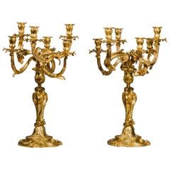 Pair of Louis XV Style Rococo Revival Six-Light Candelabra by Henry Dasson