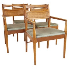 American of Martinsville Mid Century Walnut and Cane Back Dining Chairs, Set 4