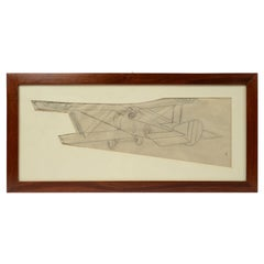Vintage Original Pencil Aviation Drawing Depicting a Hanriot HD 1 WWI Aircraft