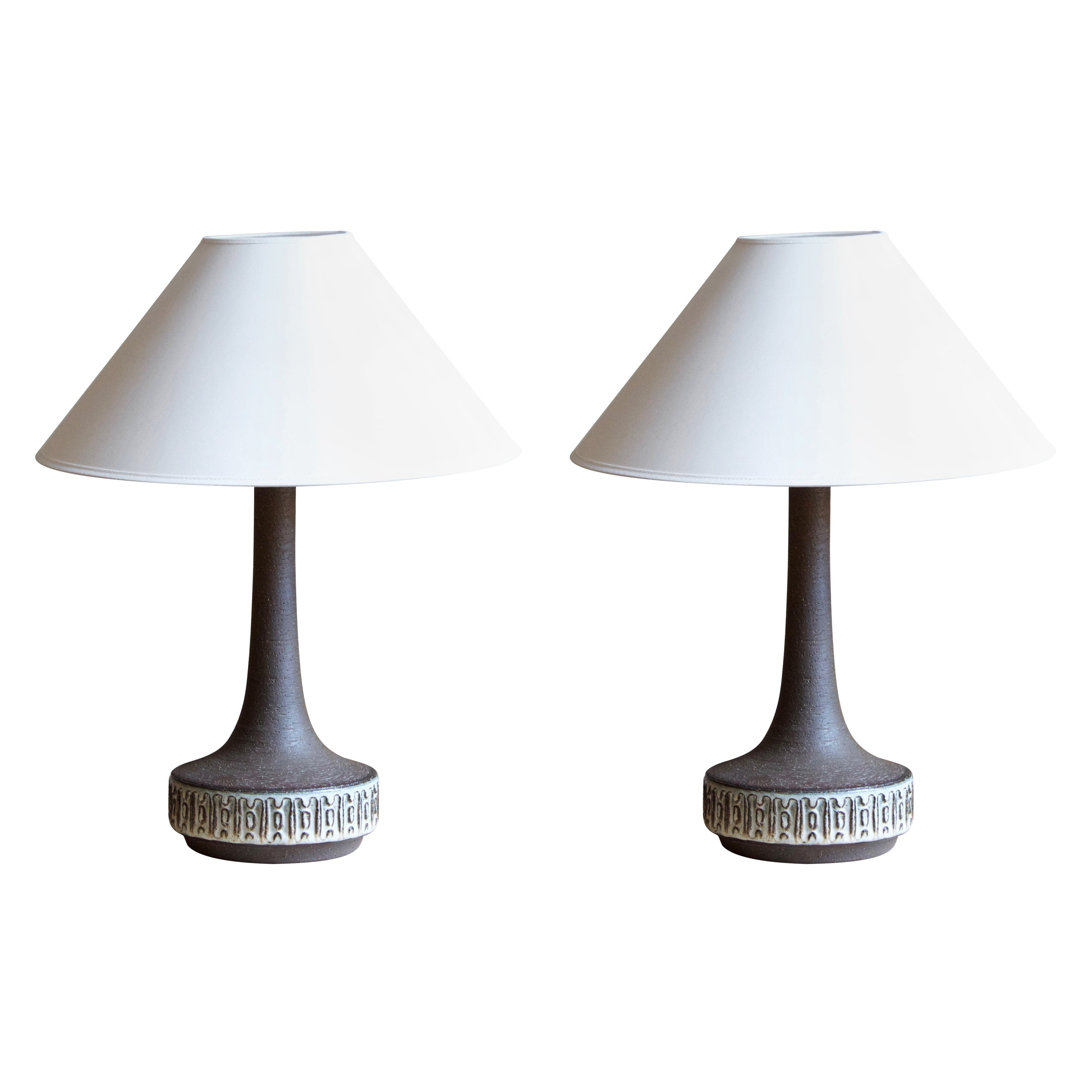 Michael Andersen, Table Lamps, Glazed Stoneware, Bornholm, Denmark, 1960s