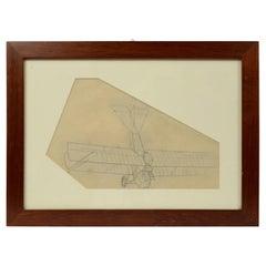 Vintage Original Aviation Pencil Drawing Depicting a Brandenburg CI WWI Aircraft