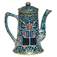 Chinese Cloisonné Enamel Teapot and Cover