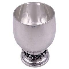 Georg Jensen Hammered Sterling Silver Kiddush Cup in Grape Pattern 296B 1930s