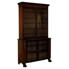Victorian Hardwood Bookcase with Lion Mask Claw Feet and Glass Doors