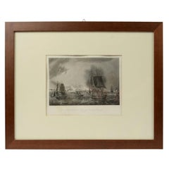 Old Nautical Print Depicting the Bombardment of Cadiz by the French Navy 1823