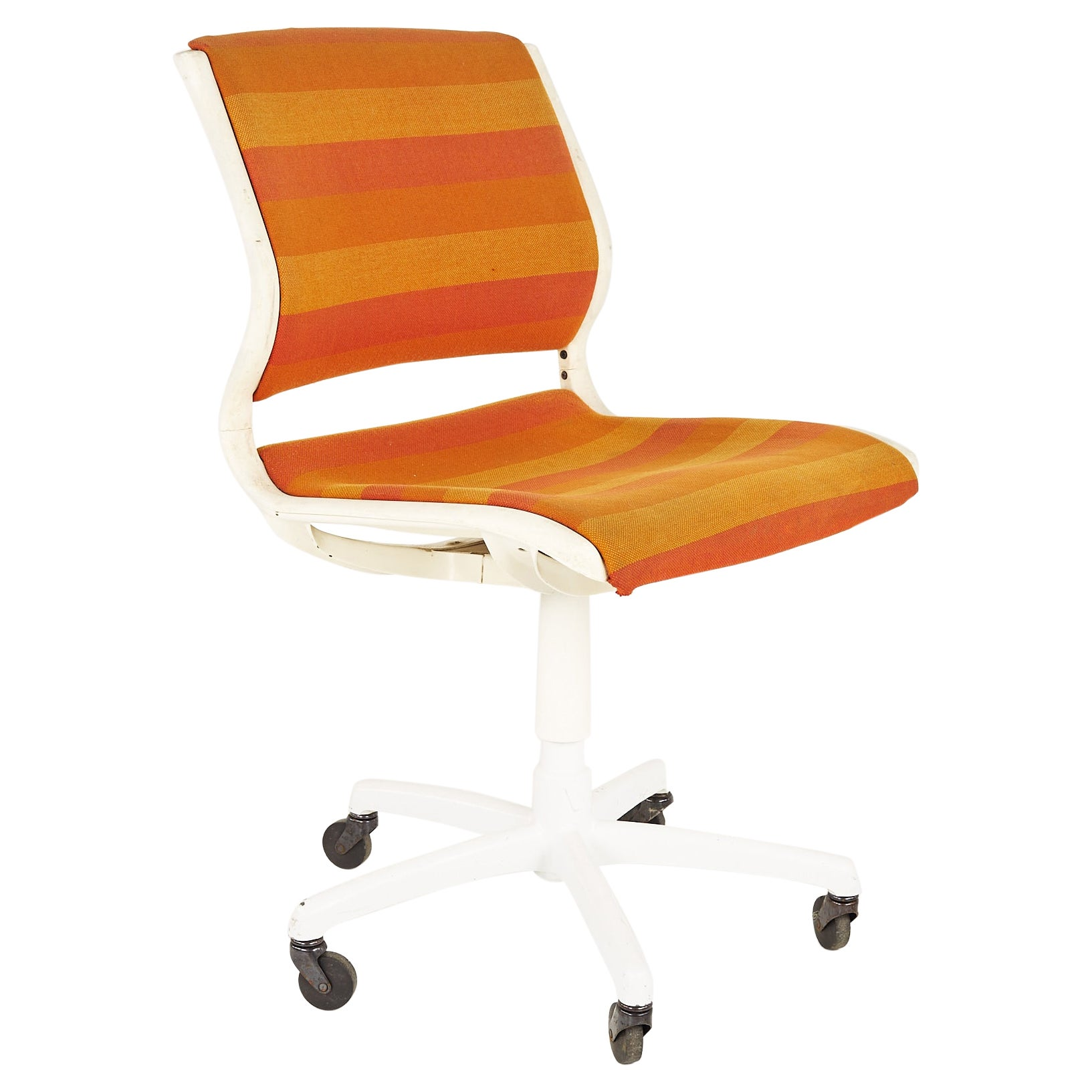 Mid Century Orange and White Desk Chair