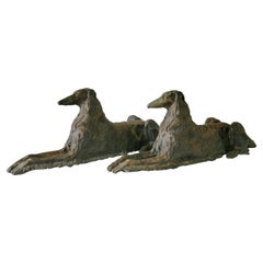 Early 20th-C. Life-Size Recumbent Patinated Bronze Borzoi Dogs, Mirrored Pair