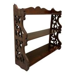 19th Century English Regency Carved Mahogany Hanging Shelf