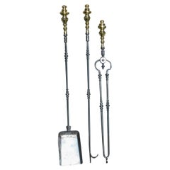 Set of American Brass Finial and Polished Steel Fire Place Tools, Phil. C. 1810