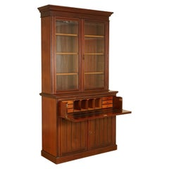 circa 1880 Hardwood Library Bookcase Secretaire Desk Dark Blue Leather Surface