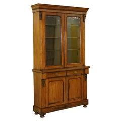 Stunning Victorian Walnut Glazed Door Bookcase/Display Cabinet