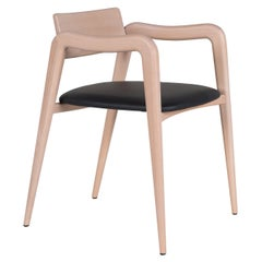 21st Century Modern Anjos Chair with Armrests Leather Handcrafted by Greenapple