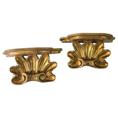 Early 20th-C. Italian Carved Giltwood Rococo Style Shell Form Brackets, Pair