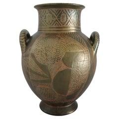 Italian Hand Painted Ceramic Vase in Lustro Glaze by Riccardo Gatti Faenza 1950s