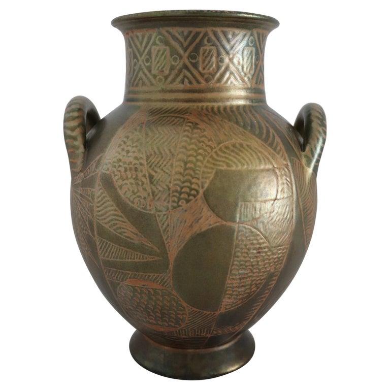 Italian Hand Painted Ceramic Vase in Lustro Glaze by Riccardo Gatti Faenza 1950s For Sale