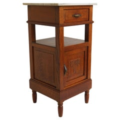 Antique French Art Deco Night Stand / Side Table 1920 Hand Carved Oak Marble Top