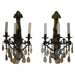 Pair of Bronze Sconces with Crystal Pendalogues