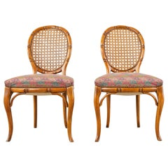 Pair of Mid-Century Faux Bamboo and Cane Dining Chairs
