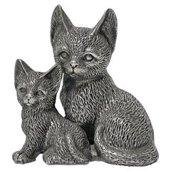 Silver 925 Seated Cat and Kitten Sculpture, 1960's