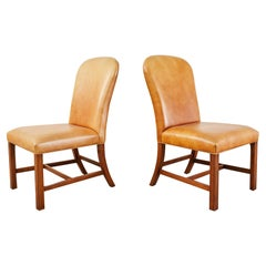 Pair of Ralph Lauren Georgian Style Leather Dining Chairs