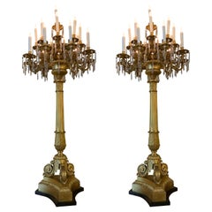 Pair of Elegant Bronze Dore and Crystal Palace Size Torchiers Now Electrified