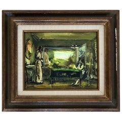 Mid-Century Modern Framed Verner Signed Oil Painting on Wood