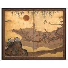 Japanese Two Panel Screen Sun Over Floral Landscape with Gold Clouds