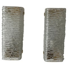 Ice Glass Pair of Sconces by Kaiser Leuchten, 1960s Germany