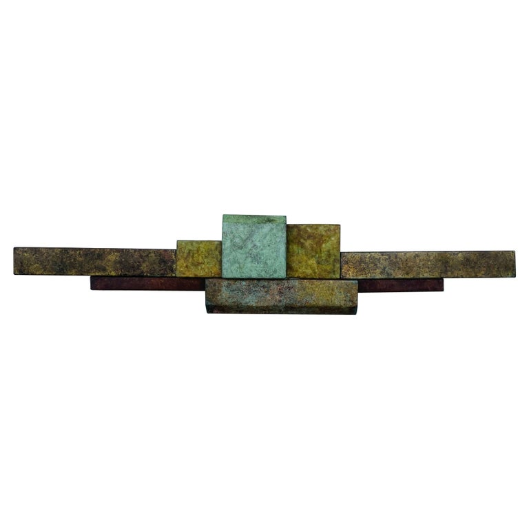 Brutalist Style Long Brass Wall Sculpture For Sale