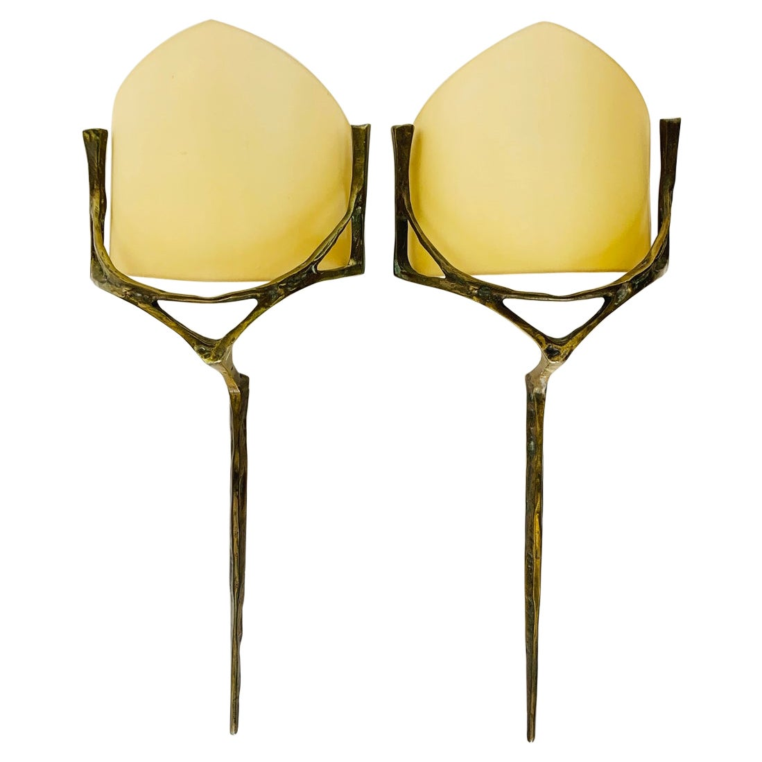 Pair of Wall Sconces in Bronze, & Brass w/ Linen Shades