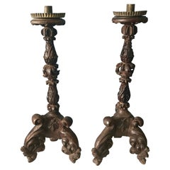 Pair of 19th Century Italian Carved Candlesticks