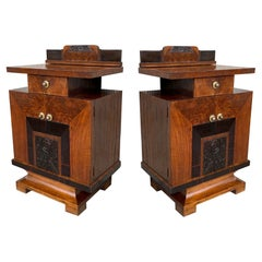 Pair of Art Deco Side Cabinets or Nightstands with Ebonized Details