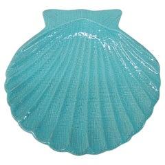 Turquoise Ceramic Clam Shell Dish