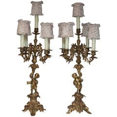 Antique Pair of French Bronze Lamps with Handmade Pink Lace Shades