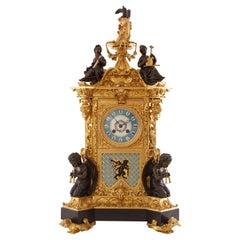 Antique Gilt Bronze and Champlevé Enamel Clock Set