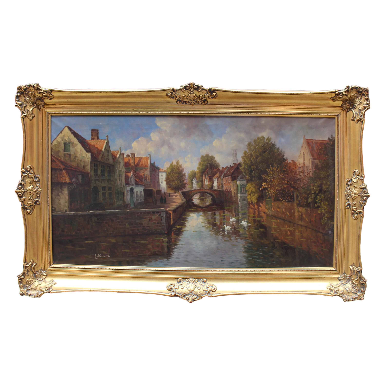 Atmospheric Bruges Canal Landscape Oil on Canvas