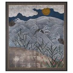 Japanese Two Panel Screen Rising Sun over Ocean Landscape