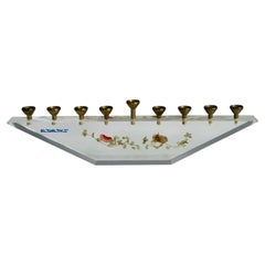 Nine Candle Modernist Menorah Set in Lucite Stand with Dried Floral Decoration
