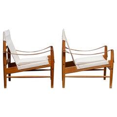 1960s, Pair of Safari Chairs by Hans Olsen for Viska Möbler in Kinna, Sweden