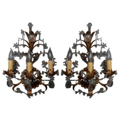 Antique Pair of French Brass and Crystal Sconces