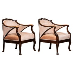 1930s Pair Scandinavian Velvet Art Nouveau Stockholm Chairs after Fritz Hennings