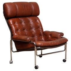 1960s Lounge Club Easy Chair in Chrome and Brown Cognac Leather by Lindlöfs