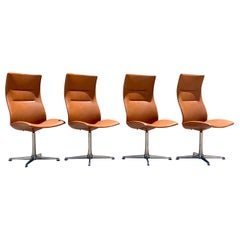 Cognac Overman High Back Swivel Dining Chairs, set of 4