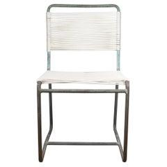 MCM Patinated Bronze Re-Roped Walter Lamb Side Chair for Brown Jordan, c.1950s