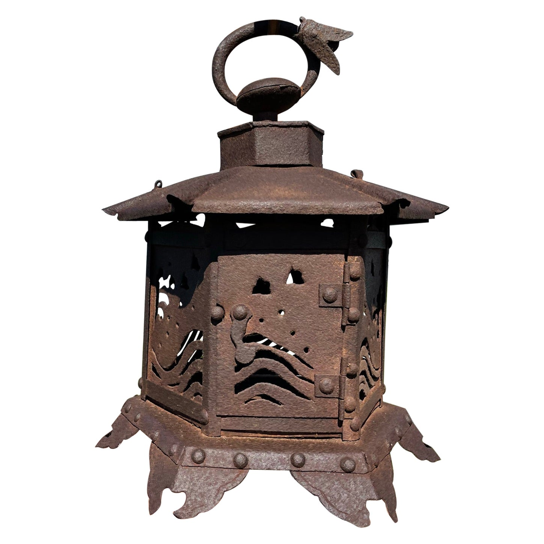 "Japanese Antique ""Birds, Waves and Cicada"" Flower Lantern"