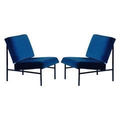 Pair of 'Déclive' Velvet and Blackened Steel Slipper Chairs by Design Frères