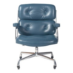 First Gen Eames Time Life Lobby Chair in Marin Blue Semi-Aniline Leather