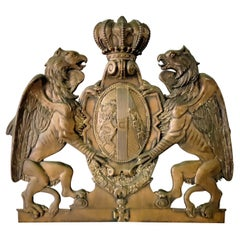 Antique English Embossed Copper Armorial Wall Plaque
