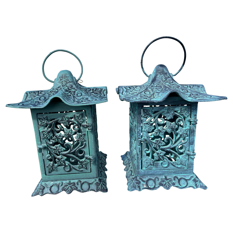 Japanese Pair Old Green Garden Leaf Garden Lanterns